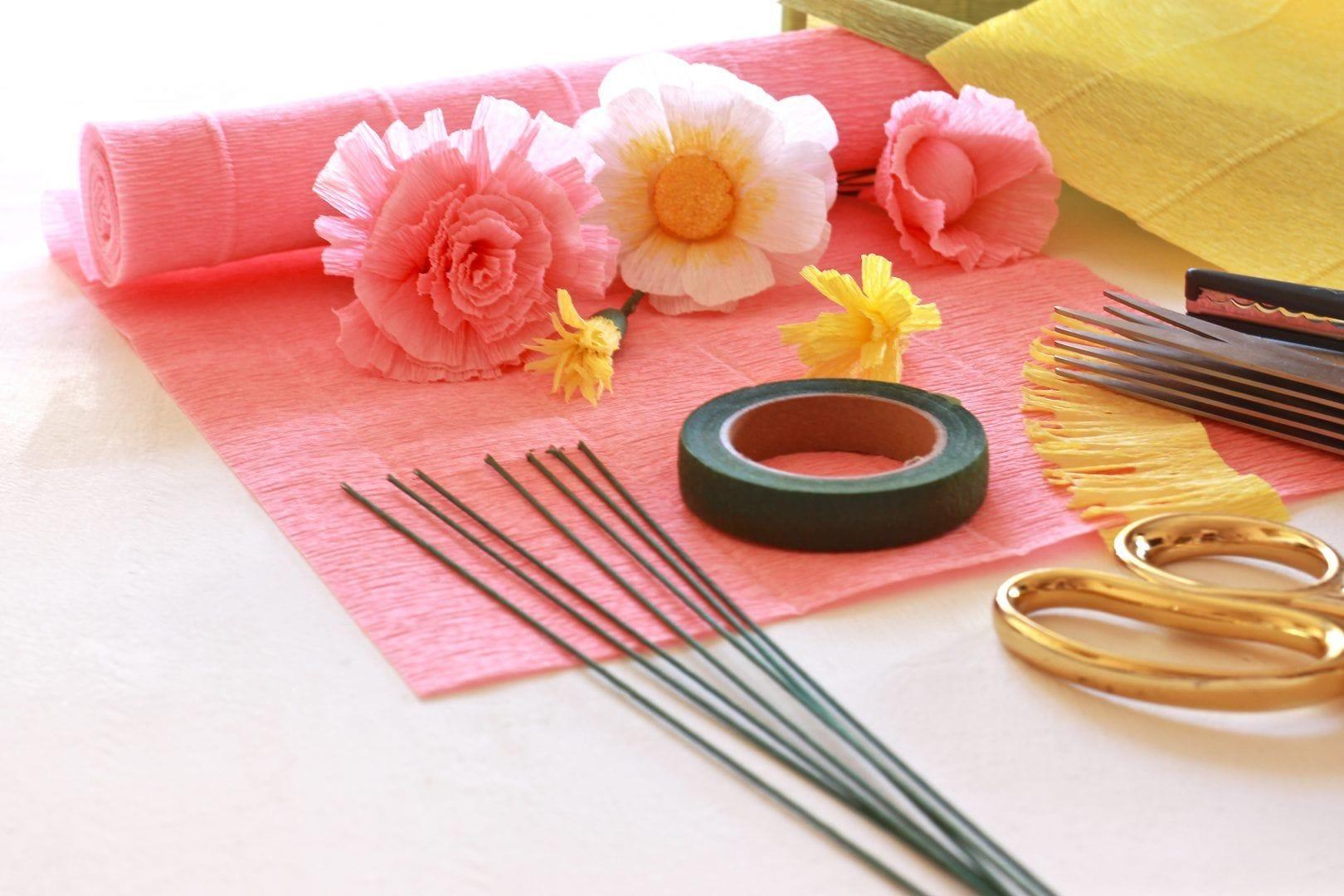 Materiales Taller de Flores de papel Crepe,