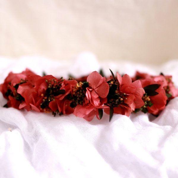 Alma corona con flores preservadas rosado