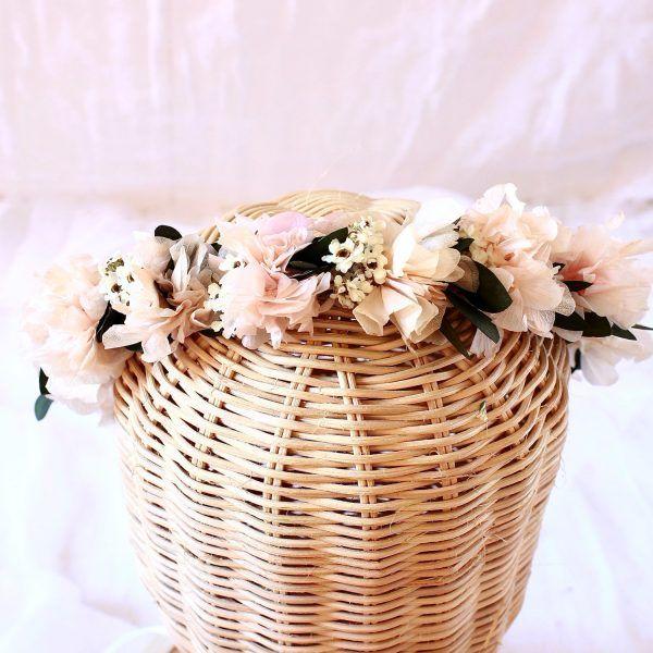 tocados con flores preservadas