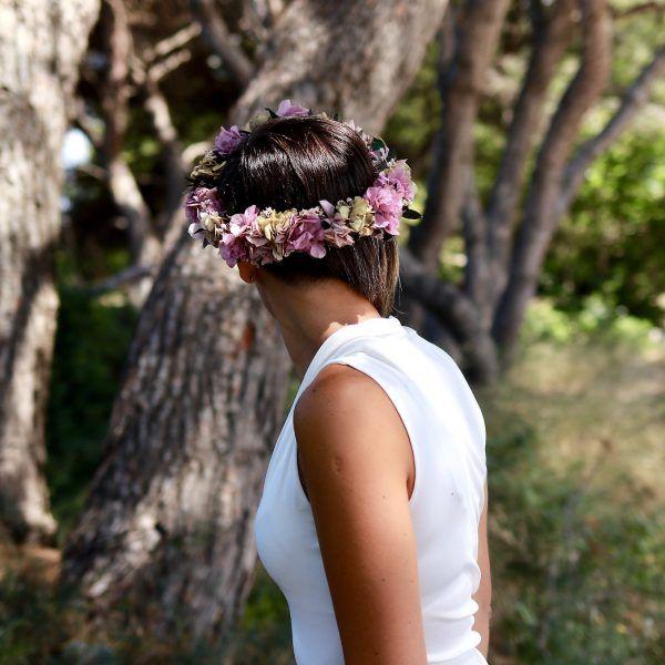 corona con flores preservadas lila 9