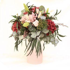 Rose arreglo de flores preservadas en tonos rosa
